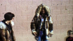 1957: Native American tribal dance fun fur coat for white woman. Stock Footage