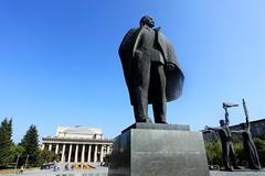 Lenin statue novosibirsk - stock photo