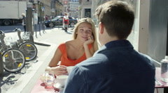 Couple having a date at cute little cafe Stock Footage