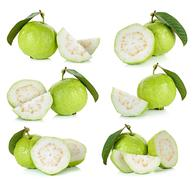 Guava fruit isolated on the white background - stock photo