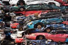 Stacks of crushed cars Stock Photos