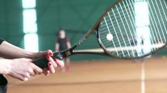 Detail of tennis racket during game Stock Footage