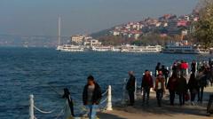 Turkey istanbul city sea people walking Stock Footage
