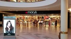 4K Macys storefront, mall escalator Stock Footage