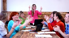 successful managers Team applauding each other after negotiations. - stock footage