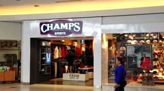 4K Champs Sporting Goods storefront, mall Stock Footage