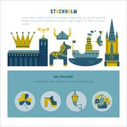 Stockholm icon set Stock Illustration