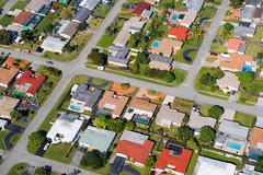 Aerial view of houses on florida east coast Stock Photos
