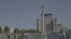 The Symbol Of Ukraine. The monument in the center of Kiev. Independence Square Stock Footage