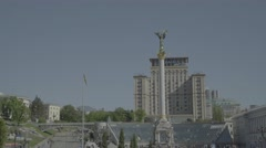 Views Of Kiev. The monument in Independence square Stock Footage