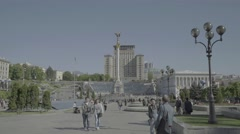 The Center Of Kiev. People in Independence Square. - stock footage