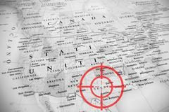 Red aerial target on tilted United States map ( Texas ) Stock Photos