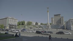 Cars driving on the street Khreshchatyk . The Independence Square. Ukraine Stock Footage