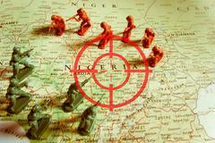 Red viewfinder over Niger conflict - stock photo