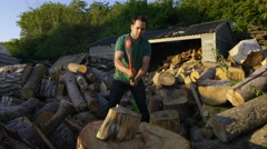 Farmer Chopping Wood Stock Footage