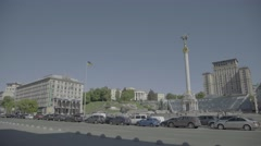 Kiev. Ukraine. Center: Khreshchatyk Street and Independence Square Stock Footage