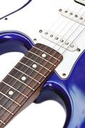 blue electric guitar - stock photo