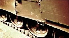 Caterpillar of Armored Tank-old movie - stock footage