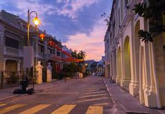 Dusk view of on Armenian Street and Yap Kongsi clan house, George Town, Penang Stock Photos