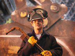 Steel Worker In Plant - stock photo
