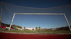 soccer goal and net - stock footage