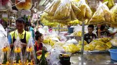Bangkok busy flower market Stock Footage