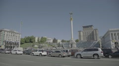 To the street Khreshchatyk and Independence Square in Kiev (panorama) - stock footage