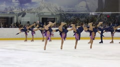 Girls and boys perform together at Synchronized Figure Skating Cup - stock footage