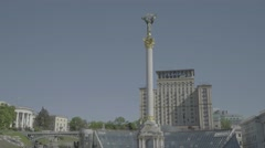 The Symbol Of Kiev. The monument in the center of the city. Independence Square Stock Footage