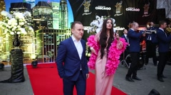 Woman on red carpet at celebration of first year of LF City magazine Stock Footage