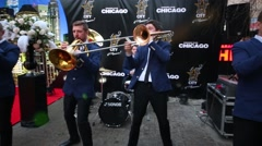 Brevis Brass Band during celebration of first year of LF City magazine Stock Footage
