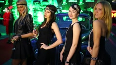 Four women pose at celebration of first year of LF City magazine Stock Footage