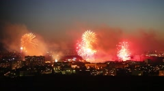 Beautiful bright fireworks show above Moscow at night Stock Footage