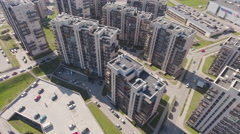 Typical modern sleeping district with residential buidings, aerial view. Stock Footage