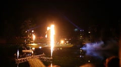 Laser and fire show and performance at Garden pond Stock Footage