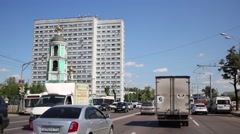 Cars move on Ryazansky av. Density in Moscow - 311 cars/1000 people Stock Footage