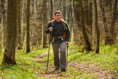 Active healthy man hiking in beautiful forest Stock Photos