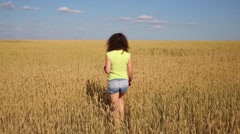 Back of woman in shorts on yellow wheat field at summer day Stock Footage