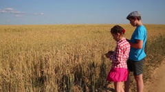 Boy and girl stand near yellow wheat field at summer day Stock Footage