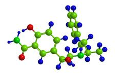 Molecular structure of Labetalol (Normodyne) - used to treat high blood press - stock illustration
