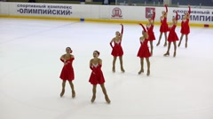 Group performs at Synchronized Figure Skating Cup Stock Footage