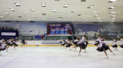 Team in costumes perform at Synchronized Figure Skating Cup Stock Footage