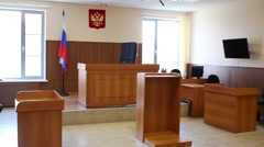 Interior of empty Russian courtroom with wooden furniture Stock Footage