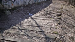 Sleepers of old railway and graffiti on wall. Stock Footage