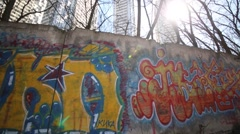 Graffiti on wall. In Moscow will be council of experts on urban graffiti Stock Footage