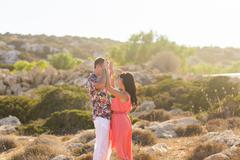 Happy romantic couple in love and having fun  outdoor in summer day, beauty of Stock Photos