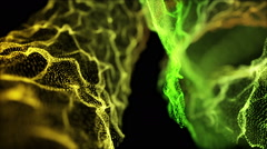 Fantastic Heavenly Rack Focus Particles Background Full HD Yellow Green Stock Footage