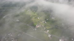 Aerial view of the shadow of a hot air balloon, cloudy sky, 4K Stock Footage