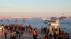 Crowded people sea istanbul city - stock footage