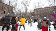 Medieval warriors fighting near castle in Moscow Stock Footage